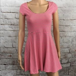 American Eagle Outfitters Dress Pink Tan Stripe S